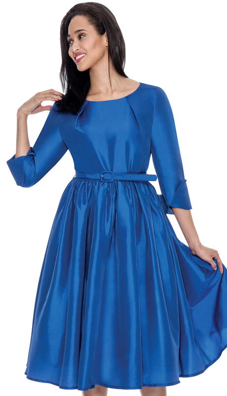Dress By Nubiano 5871-ROY-IH ( 1pc Taffeta Pleated With Belt Womens Sunday Dress )