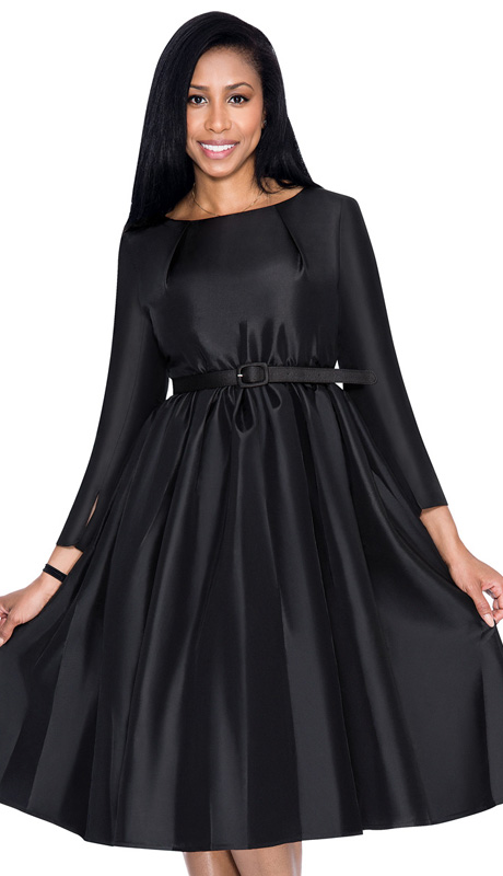 Dresses By Nubiano 5871-BLK ( 1pc Taffeta Pleated With Belt Womens Sunday Dress )