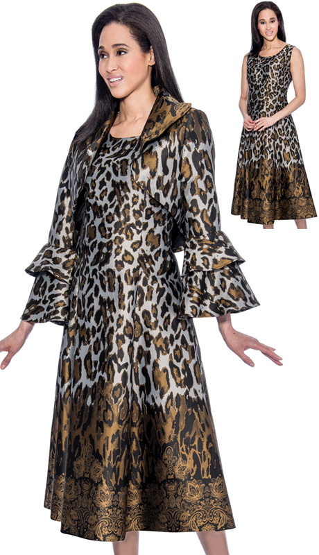 Dress By Nubiano 3712-IH-WE ( 2pc Silk Look With Leopard Print And Paisley Ladies Dress And Layered Flounce Sleeve Jacket )