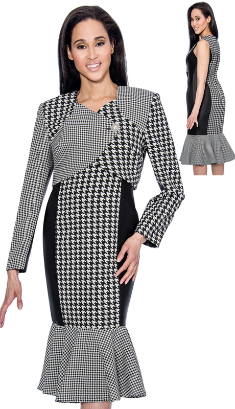 Dress By Nubiano 3762 ( 2pc Houndstooth Trumpet Dress With Jacket For Church )
