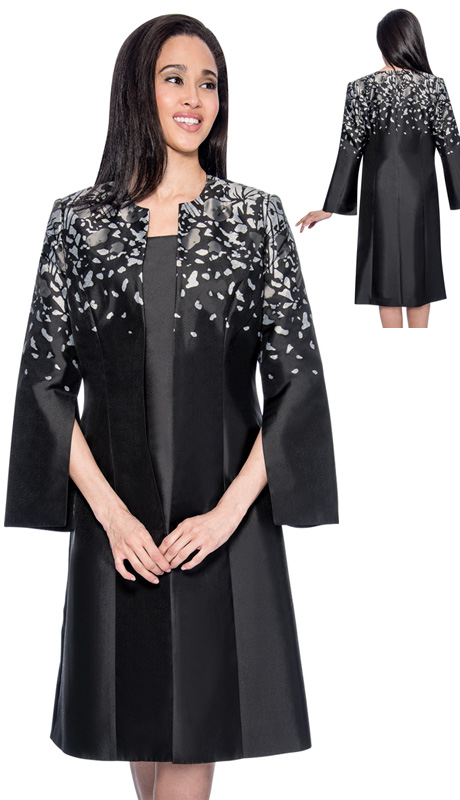 Dress By Nubiano 3772-CO ( 2pc Silk Look With Petal Print Long Jacket And Dress For Church )