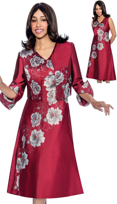 Dress By Nubiano 3822 ( 2pc Shantung Womens Fit-And-Flare Dress With Floral Print And Cuffed Jacket )