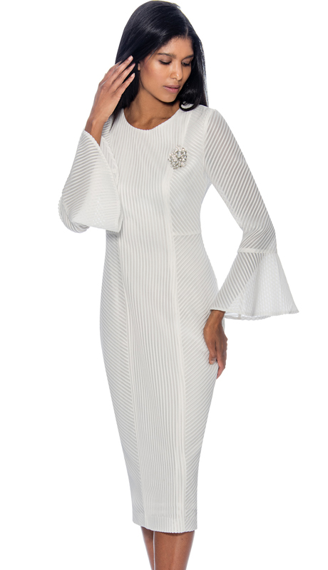 Dress By Nubiano 3321-W ( Fluted Cuff Dress With Multi Directional Line Texture Design First Lady Dress For Church )