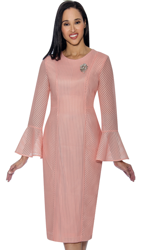 Dress By Nubiano 3321-P ( Fluted Cuff Dress With Multi Directional Line Texture Design First Lady Dress For Church )