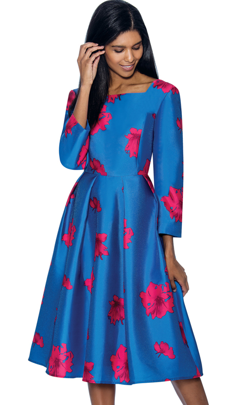 Nubiano Dresses 3371 ( Pleated A-Line Dress With Floral Church Dress )