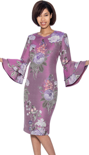 Dress By Nubiano 3381-PUR ( Double Bell Sleeve With Floral Print Spring 2018 Dress For Church )