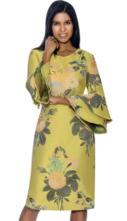 Dress By Nubiano 3381-YEL ( Double Bell Sleeve With Floral Print Spring 2018 Dress For Church )