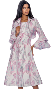Dress By Nubiano 3402 ( Printed A-Line Style With Double Bell Sleeve And Bolero Jacket, Dress For Church )