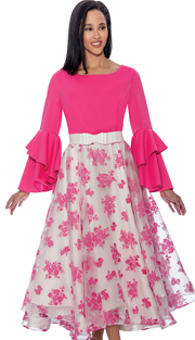 Dress By Nubiano 3431 ( Printed Mesh Layer Style With Double Bell Sleeves, Dress For Church )