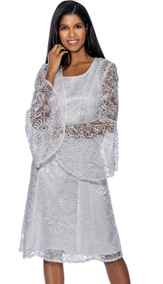 Dress By Nubiano 3462-W ( Mesh & Solid Layered Dress With Flare Sleeve Jacket For Sunday Church )