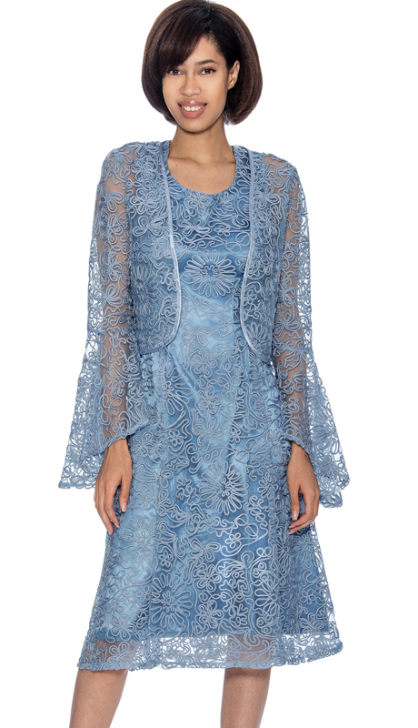 Dress By Nubiano 3462-PB ( Mesh & Solid Layered Style With Flare Sleeve Jacket, Church Dress )