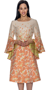 Dress By Nubiano 3441 ( Floral Print With Bell Sleeves, Dress For Church )
