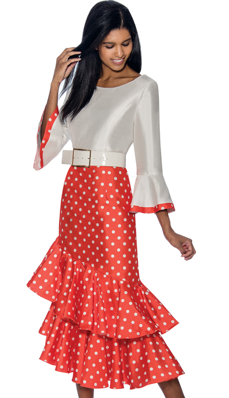 Dress By Nubiano 3581-OW ( Polka Dot Print Bell Sleeve With Double Flounce Hem Dress For Sunday )