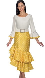 Dress By Nubiano 3581-YE ( Polka Dot Print Bell Sleeve With Double Flounce Hem Dress For Sunday )
