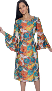 Dress By Nubiano 3411 ( Elegant Print With Bell Sleeve First Lady Dress For Church )