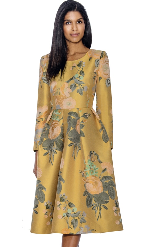 Dress By Nubiano 3751-Ye ( Pleated Floral Print A-Line Style, First Lady Dress For Church )