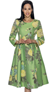 Dress By Nubiano 3751-GR ( Pleated Floral Print A-Line Dress First Lady Dress For Church )