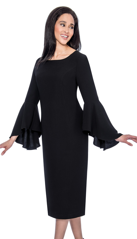 Dress By Nubiano 3781-B-CO ( 1pc Renova Ladies Dress For Church With Flared Sleeves )