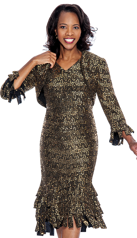 Nubiano 4802-BG-IH ( 2pc Metallic Sequined Knit Church Dress )