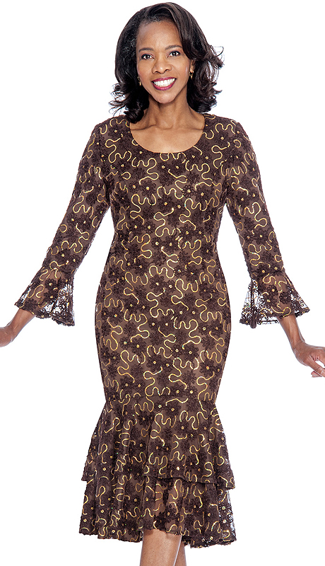 Nubiano 4621-BR-IH ( 1pc Sequined Lace Ladies Church Dress )
