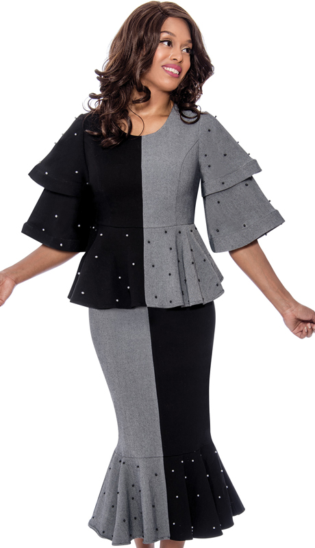 Devine Sport 62512 ( 2pc Denim Suit For Church With Color Block Design And Beautiful Rhinestone Studded Tiered Sleeves )