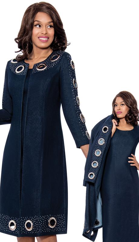Devine Sport 62492 ( 2pc Denim Jacket Dress With Dazzling Rhinestone And Grommet Studded Trim )