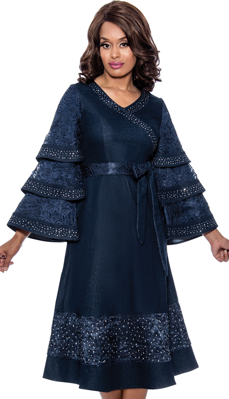 Devine Sport 62571 ( 1pc Denim Church Dress With Graceful Lace Design, Beautiful Rhinestone Accents, And Layered Sleeves )