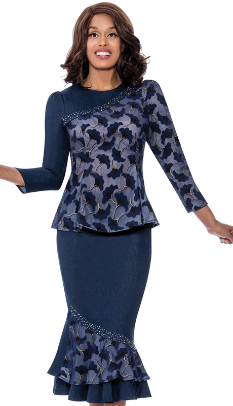 Devine Sport 62562 ( 2pc Denim First Ladies Suit With Swirling Natural Design And Layered Skirt )