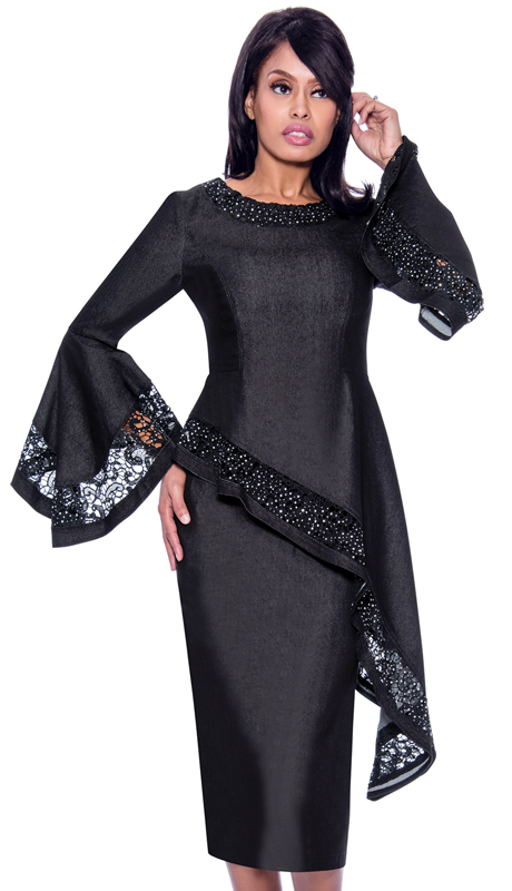 Devine Sport 62242-BLK ( 2pc Denim Church Suit Hi Low Waist And Stoned Lace Trim )