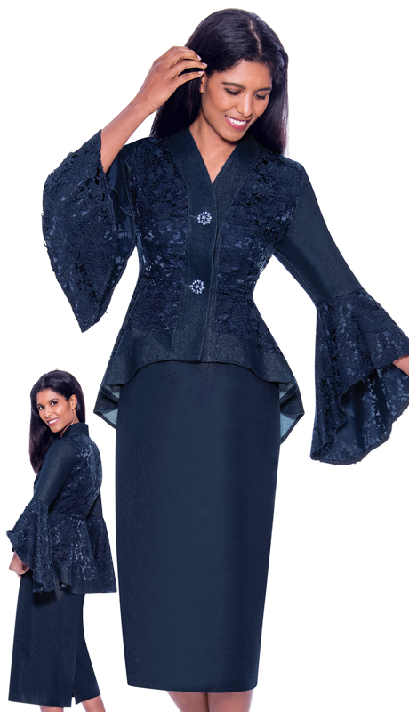 Devine Sport 62312 ( 2pc Ladies Denim Church Suit With Lace Covered Jacket And Jeweled Buttons )