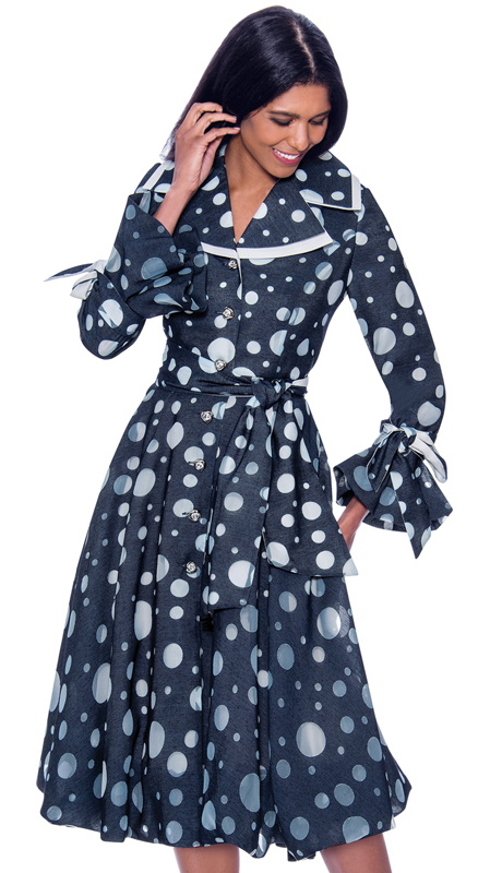 Devine Sport 62321 ( 1pc Ladies Pleated Denim Church Dress In Polka Dot Print )