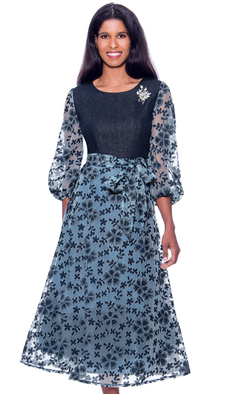 Devine Sport 62331 ( 1pc Womens Denim A-Line Printed Church Dress With Floral Bishop Sleeves )