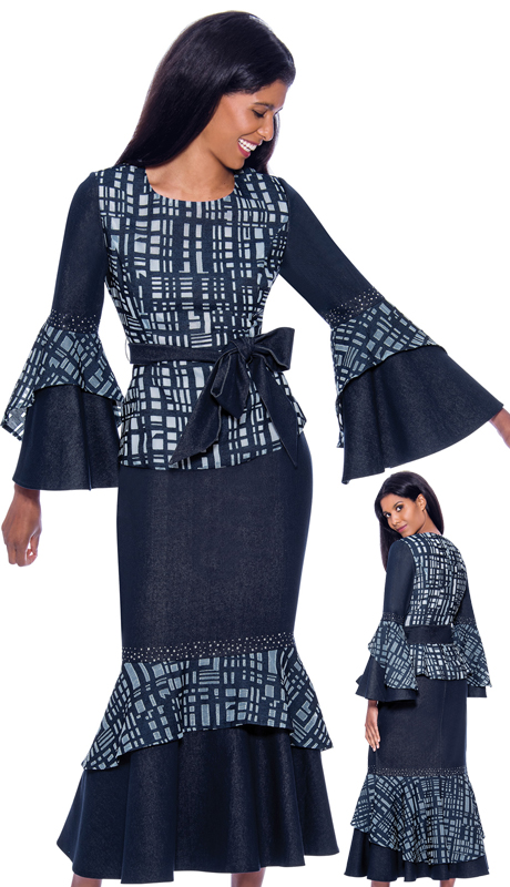 Devine Sport 62342 ( 2pc Ladies Denim Flounce Hem Skirt Suit With Geometric Pattern And Sash )