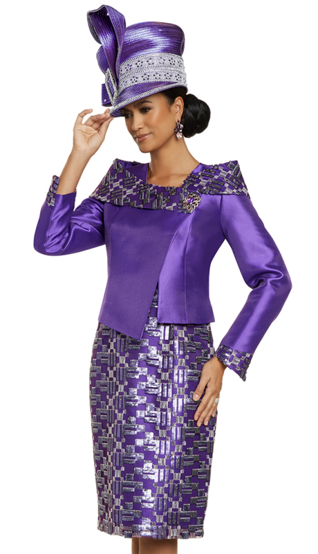 Donna Vinci 5707 ( 2pc Exclusive Novelty And Silk Ladies Church Dress With Beautiful Sequins And Embroidery, And A Detachable Rhinestone Broach )