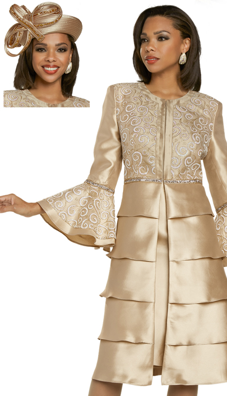 Donna Vinci 11876 ( 2pc Exclusive Novelty And Silk Womens Sunday Layered Dress With Dazzling Gold Chains And Rhinestones )