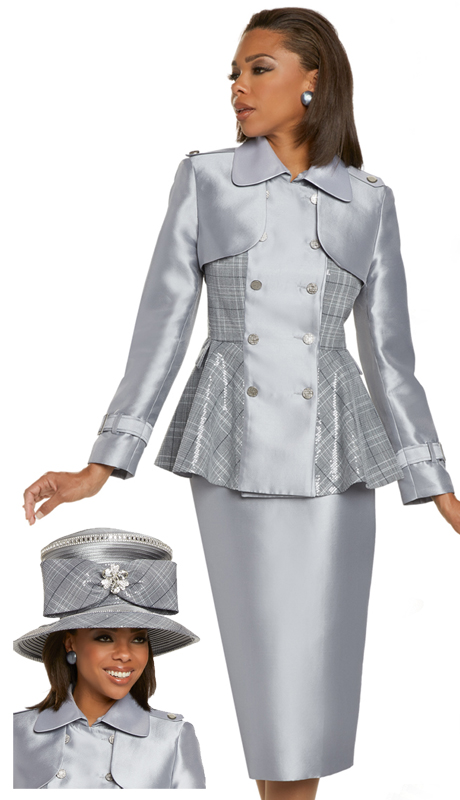 Donna Vinci 11892 ( 2pc Exclusive Silk Womens Suit For Church With Novelty Plaid Sequins, And Ornate Silver Buttons )