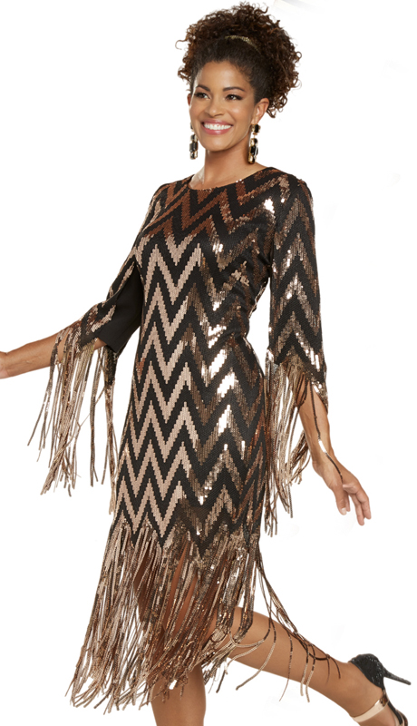 Donna Vinci 11893 ( 1pc Exclusive Novelty First Lady Womens Sunday Dress With Dazzling Sequins And Fringe )
