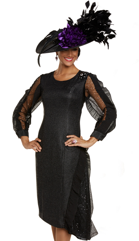 Donna Vinci 11891 ( 1pc Exclusive Textured Novelty First Ladies Dress For Church Designed With Pleated Chiffon And Black Sequins Trim )-Hat