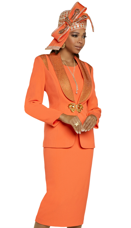 Donna Vinci 11895 ( 3pc Exclusive PeachSkin Womens Church Suit Trimmed With Beautiful Gold Rhinestones And A Rhinestone Buckle )-Hat