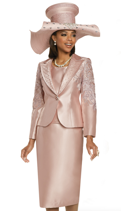 Donna Vinci 11894 ( 3pc Silk Womens Suit For Sunday With Novelty Embroidered Lace Trimmed With Rhinestones )