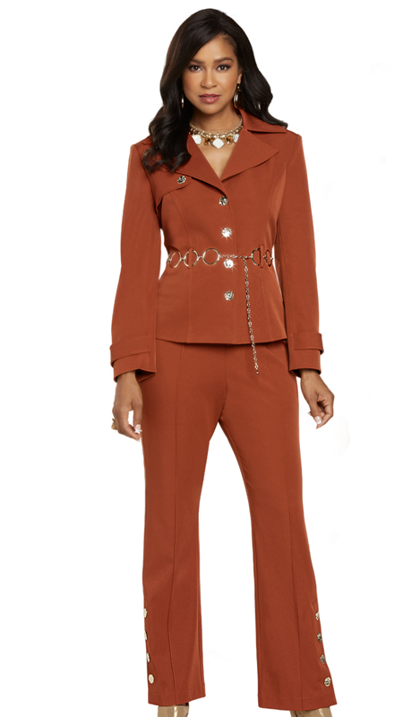 Donna Vinci 11899 ( 2pc Exclusive PeachSkin Womens Suit For Church With Gold Chain Belt And Novelty Buttons )