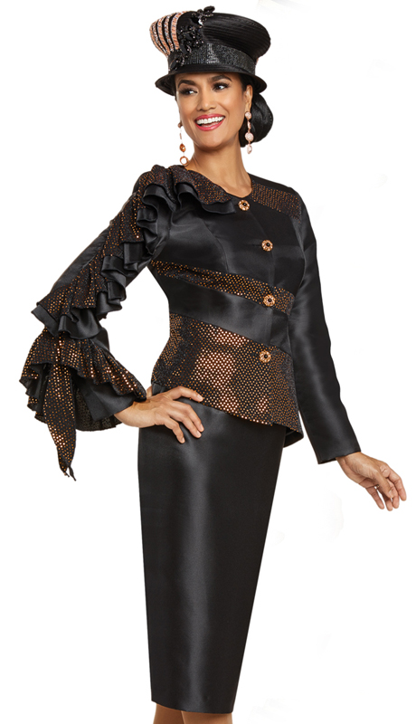 Donna Vinci 11898 ( 2pc Exclusive Silk Womens Sunday Suit With Polka Dot Gold Trim And Elaborate Rhinestone And Pearl Buttons )