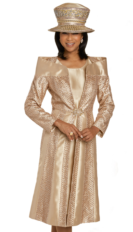 Donna Vinci 11908 ( 2pc Exclusive Novelty And Silk Womens Sunday Dress With Ornate Shoulders, Beautiful Pattern, And Gold Rhinestone Buckle )-Hat