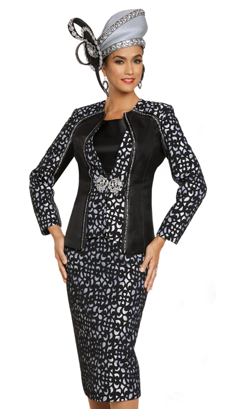 Donna Vinci 11897 ( 3pc Exclusive Silk Ladies Church Suit With Novelty Geometric Design And Rhinestone Trim )