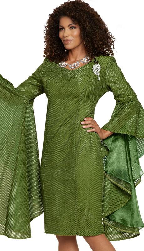 Donna Vinci 11903 ( 1pc Exclusive Novelty Womens Church Dress With Chiffon Sleeve Insets And A Detachable Broach )