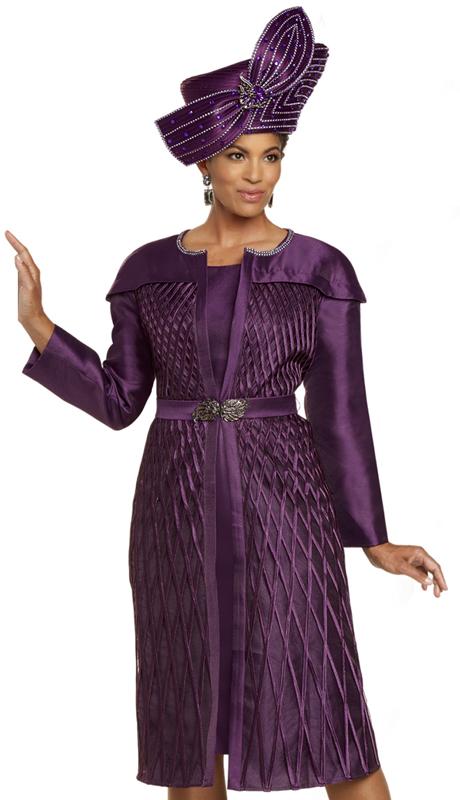 Donna Vinci 11902 ( 2pc Exclusive Silk Womens Church Dress With Lattice Design, Rhinestones On Neckline, And Beautiful Rhinestone Belt Buckle )