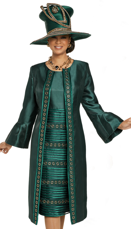 Donna Vinci 11901 ( 2pc Exclusive Silk Womens Dress For Sunday With Embroidered Trims And Gold Grommets )