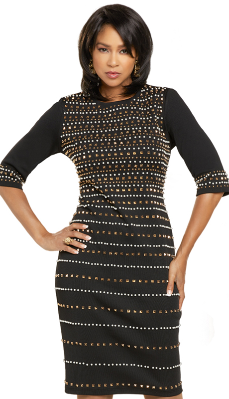Donna Vinci 11907 ( 1pc Exclusive Knit Ladies Sunday Dress With Ivory Pearls And Gold Trims )