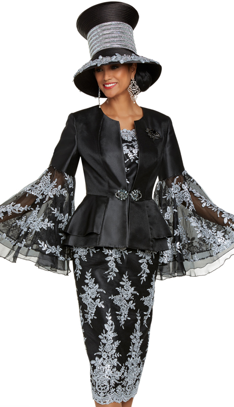 Donna Vinci 5702 ( 3pc Exclusive Silk Womens Church Suit With Beautiful Silver Embroidered Novelty Fabric, Rhinestone Buckle, And Detachable Broach )
