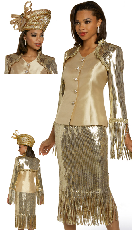 Donna Vinci 5703 ( 2pc Exclusive Silk Ladies Church Suit With Novelty Sequins, Trimmed With Gold Guipure, Lace, And Rhinestones )